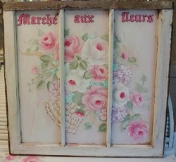 Beautiful Vintage Hand Painted Rose Cottage Window