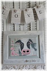Hand Painted  Farmhouse Cow and Rose Cabinet Door