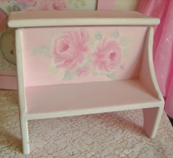 Beautiful Hand Painted Step Stool With Storage