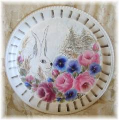 Beautiful Metal Tray Rabbit,  Soft Romantic Roses, Pansies