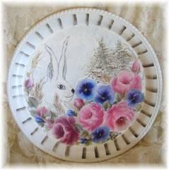 Beautiful Metal Tray Rabbit,  Soft Romantic Roses, Pansies